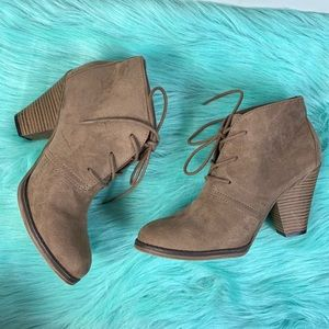 MIA Shayna Soft Faux Suede Lace Up Booties Boots